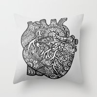 anatomical heart Throw Pillows featuring Anatomical Heart Zentangle by isabellat