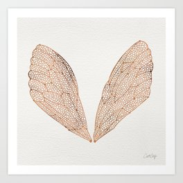 Cicada Wings in Rose Gold Art Print