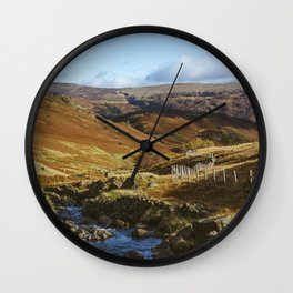 Views of Honister Pass and Hause Gill above Seatoller. Lake District; UK. Wall Clock