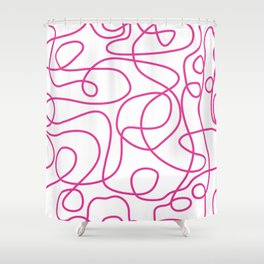 Doodle Line Art | Hot Pink Lines on White Background Shower Curtain