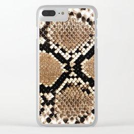 Pastel brown black white snakeskin animal pattern Clear iPhone Case