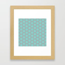 Hexagonal Dreams - Grey & Turquoise Framed Art Print