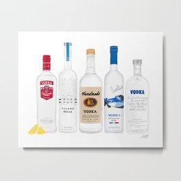 Vodka Bottles Illustration Metal Print