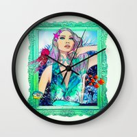 pisces Wall Clocks featuring Pisces by Sara Eshak