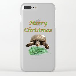 Sulcata Tortoise - Merry Christmas Clear iPhone Case