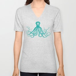 Octopus | Teal and White Unisex V-Neck