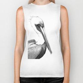 Black and White Pelican Biker Tank