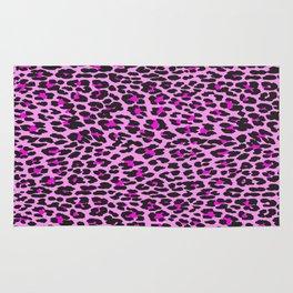 Animal Print, Spotted Leopard - Pink Black Rug