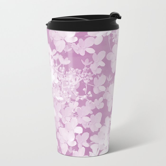 Pink Hydrangea Pastel Color #decor #society6 Metal Travel Mug