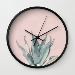 Agave - botanical print rose Wall Clock