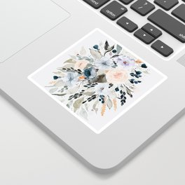 Loose Blue and Peach Floral Watercolor Bouquet  Sticker