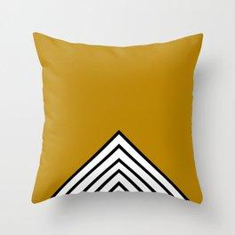 MUSTARD BLACK AND WHITE STRIPES Throw Pillow