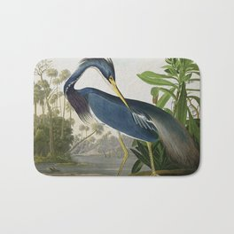 John James Audubon Louisiana Heron Painting Bath Mat