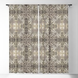 Floral06 Tan White Black Blackout Curtain