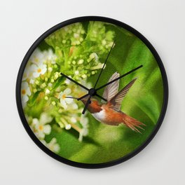 The Hummer and the Butterfly Bush Wall Clock