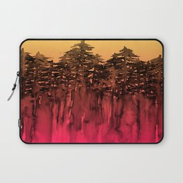FOREST THROUGH THE TREES 12 Hot Pink Magenta Orange Black Landscape Ombre Abstract Painting Outdoors Laptop Sleeve