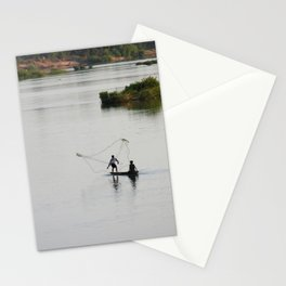 Fishermen Fishing on the Mekong River Stationery Cards