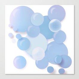 Soft Floating Blue Bubbles Canvas Print