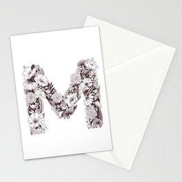 M botanical monogram Stationery Cards