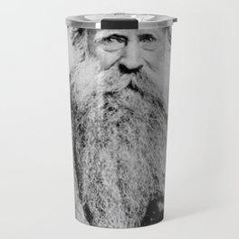 Kitten in the Beard of Old Man black and white photograph Travel Mug