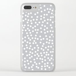 Silver Gray and White Polka Dot Pattern Clear iPhone Case