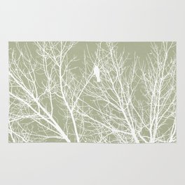 White Bird in White Tree - Moss A593 Rug