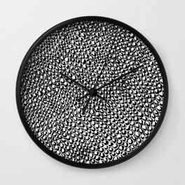Black and White Unique Textured Charcoal Circle Doodle Pattern Drawing // Animal Snake Scale Print Wall Clock