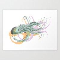 Hand Drawn Nautical Octopus Print Art Print
