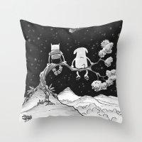 finn and jake Throw Pillows featuring finn & jake by jasminevn