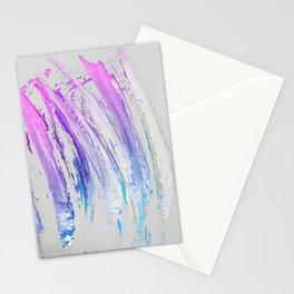 Lavender Magenta Brushstrokes on Light Gray Abstract Stationery Cards