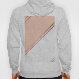Modern stylish rose gold glitter geometric stripes blush pink white marble color block Hoody