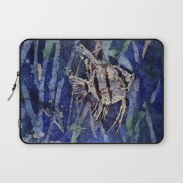Watercolor batik painting on rice paper of angelfish swimming Laptop Sleeve