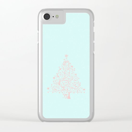 Merry christmas- Pink abstract christmastree on turquoise backround Clear iPhone Case