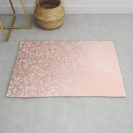 Rose Gold Sparkles on Pretty Blush Pink II Rug