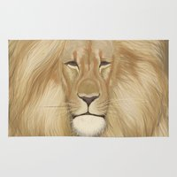 the lion king Area & Throw Rugs featuring king lion by Ewa Pacia