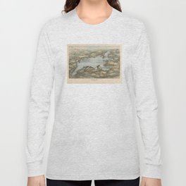 Vintage Pictorial Map of Lake Sunapee (1905) Long Sleeve T-shirt