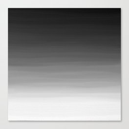 Black and White Haze Abstract Ombre Canvas Print