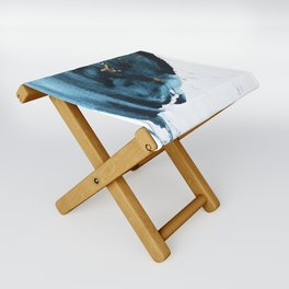 Sapphire and Gold Abstract Folding Stool