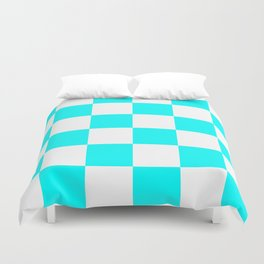Large Checkered - White and Aqua Cyan Duvet Cover