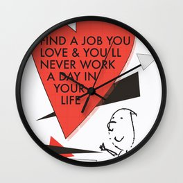 Love Work Awemous Quote Wall Clock