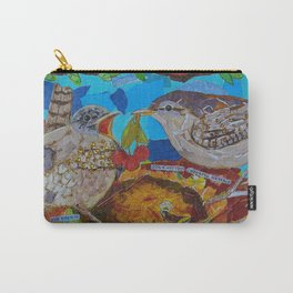 Two Birds In Colorful Nest With Quotes About Wrens Carry-All Pouch