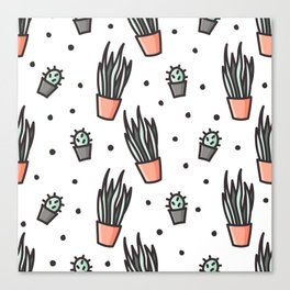 Sansevieria and cactus doodles Canvas Print