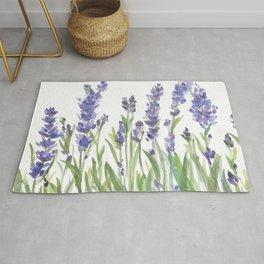 lavender garden watercolor Rug