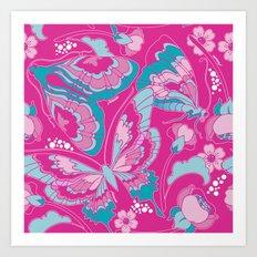 Butterflies in Fuchsia Art Print