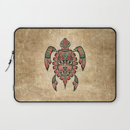 Vintage Red and Green Haida Spirit Sea Turtle Laptop Sleeve