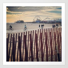 People cycling on Santa Monica beach, California, USA Art Print