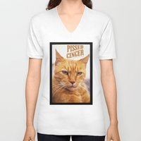 ginger V-neck T-shirts featuring Pissed Ginger by Bruce Stanfield