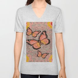 CORAL COLORED MONARCH BUTTERFLIES FANTASY ART Unisex V-Neck