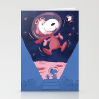 snoopy Stationery Cards featuring Snoopy on the moon by Enrique Guillamon