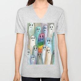 the rainbow gay ghost Unisex V-Neck